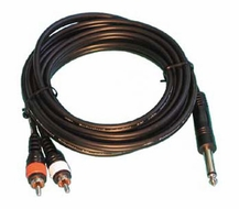 "Audio 2000 (ADC210G) 20ft, 4 X 8mm Cables 2 X RCA Plugs to 1 X 1/4"" Mono Plug"