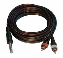 """Audio 2000 (ADC210J) 10ft, 4 X 8mm Cables 2 X RCA Plugs to 1 X 1/4"""" Stereo Plug"""