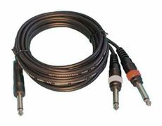 "Audio 2000 (ADC210N) 20ft, 4 X 8mm Cables 1 X 1/4"" Mono Plug to 2 X 1/4"" Mono Plugs"
