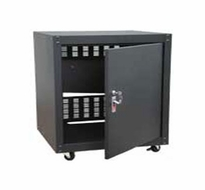 Audio 2000 (AST4611) Steel Equipment Stand & Rack with Doors, Locks and Heavy-Duty Casters