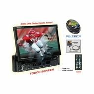 Nitro (BMWX-4768) 7-Inch Touchscreen Monitor One Din In-Dash DVD CD AM FM USB SD Bluetooth Receiver Fully Motorized, Detachable Front Panel