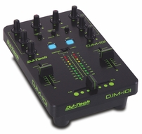 DJ-Tech (DJM-101) Mini USB Controller, 2 CH DJ Mixer Style with LED Meter & Adjustable Curve for Crossfader