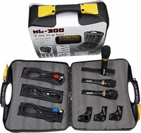 DJ-Tech (MK-300) 3 Professional Mic Package w/Case, Clips & Color Coded Cables