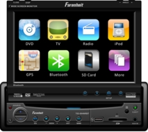 "Farenheit (TID-894NR) Single Din A/V Source Unit w/ 7"" Digital Flip-Up TFT-LCD Touch Screen"