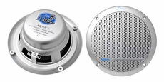 Lanzar (AQ5DCS) 300 Watts 5.25'' Dual Cone Marine Speakers (Silver Color) (Pair)