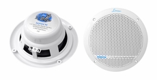 Lanzar (AQ5DCW) 300 Watts 5.25'' Dual Cone Marine Speakers (White Color) (Pair)