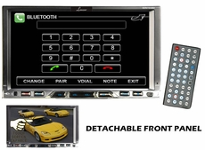 Lanzar (SDN72UBD) 7'' Double Din TFT Monitor Touch Screen DVD/MPEG4/MP3/DIVX/CD-R/USB/SD/AM/FM/RDS w/Build-in Bluetooth