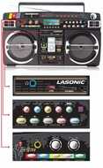 Lasonic (LAS-I-931) Retro Blaster BoomBox for iPod - Black