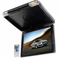 Legacy (LMRD15) TFT Flip Down Roof Mount Monitor w/ Built-In DVD/MP3/MP4 Compatible Player w/ Wireless FM Modulator & IR Transmitter