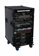 "Marathon (MA-16UADWBLK) 16U DJ Professional Amplifier Deluxe Case with Wheels and 18"" Body Depth"