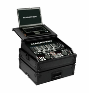 Marathon (MA-19MIXLTBLK) Black Series Mixer Case Holds 10U 19 Slanted Mixer with Laptop Shelf