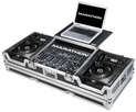 "Marathon (MA-CDJ2K19WLT) Coffin Holds 2 x Large format CD Players: Pioneer CDJ-2000 + 12"" Mixer and Laptop Shelf w/ Low Profile Wheels"