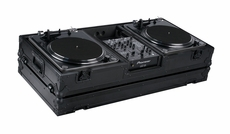 "Marathon (MA-DJ10WBLK-BATTLE) Holds 2 Turntables in Battle Style Position with 10"" Mixer, Low Profile Wheels"