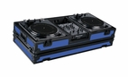 "Marathon (MA-DJ10WBLKBLUE-BATTLE) Blue - Black Series Coffin Holds 2 Turntables in Battle Style Position with 10"" Mixer with Low Profile Wheels"