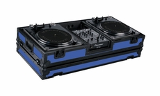 """Marathon (MA-DJ10WBLKBLUE-BATTLE) Blue - Black Series Coffin Holds 2 Turntables in Battle Style Position with 10"""" Mixer with Low Profile Wheels"""
