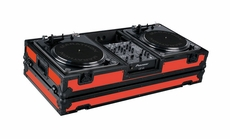 "Marathon (MA-DJ10WBLKRED-BATTLE) Red - Black Series Coffin Holds 2 Turntables in Battle Style Position with 10"" Mixer with Low Profile Wheels"