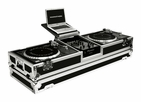 "Marathon (MA-DJ10WLT) Holds 2 Turntables in Standard Style Position with 10"" Mixer with Low Profile Wheels & Laptop Shelf"