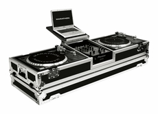 """Marathon (MA-DJ10WLT) Holds 2 Turntables in Standard Style Position with 10"""" Mixer with Low Profile Wheels & Laptop Shelf"""