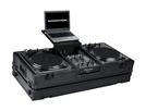 "Marathon (MA-DJ10WLTBLK-BATTLE) Black Series Coffin Holds 2 Turntables In Battle Style Position Plus 10"" Mixer with Laptop Shelf and Wheels"
