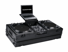 """Marathon (MA-DJ10WLTBLK-BATTLE) Black Series Coffin Holds 2 Turntables In Battle Style Position Plus 10"""" Mixer with Laptop Shelf and Wheels"""