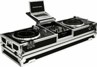 "Marathon (MA-DJ10WLTS) holds 2 turntables in standard style position with 10"" mixer with Low Profile Wheels & LAPTOP SHELF"