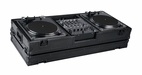 "Marathon (MA-DJ12WBLK-BATTLE) Black Series, Holds 2 Turntables in Battle Style Position with 12"" Mixer & Wheel"