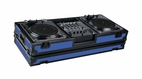 "Marathon (MA-DJ12WBLKBLUE-BATTLE) Blue - Black Series Coffin Holds 2 Turntables in Battle Style Position with 12"" Mixer with Low Profile Wheels"
