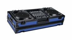 """Marathon (MA-DJ12WBLKBLUE-BATTLE) Blue - Black Series Coffin Holds 2 Turntables in Battle Style Position with 12"""" Mixer with Low Profile Wheels"""