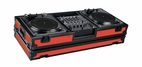 "Marathon (MA-DJ12WBLKRED-BATTLE) Red-Black Series Coffin Holds 2 Turntables in Battle Style Position with 12"" Mixer with Low Profile Wheels"