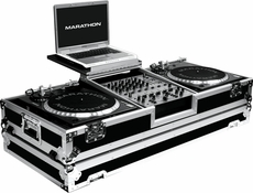 """Marathon (MA-DJ12WLTB) Holds 2 turntables in BATTLE STYLE POSITION with 12"""" mixer with low profile wheels and LAPTOP SHELF"""