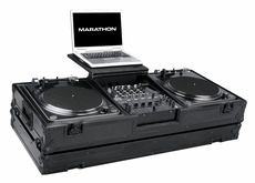 "Marathon (MA-DJ12WLTBLK) Black Series Coffin holds 2 Turntables in Battle Style position with 12"" Mixer with low profile wheels and Laptop Shelf to hold up to a 17"" laptop"