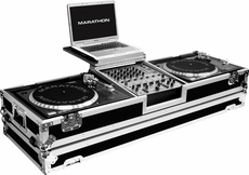 """Marathon (MA-DJ12WLTS) Holds 2 Turntables in Standard Style position with 12"""" Mixer w/ Wheels & Laptop Shelf"""