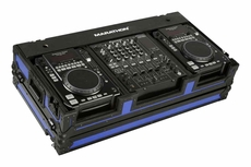 """Marathon (MA-DJCD12WBLKBLU) Black Series Heavy Duty Blue Battle Style Case for Two Large CD Players and 12"""" Mixer"""