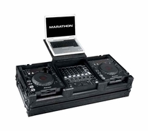 """Marathon (MA-DJCD12WLTBLK) Black Series Coffin with Wheels and Laptop Shelf, Holds 2 Large CD Players and 12"""" Mixer"""