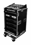 Marathon (MA-M14UW) 10U Slant Mixer Rack / 14U Vertical Rack System With Caster Board