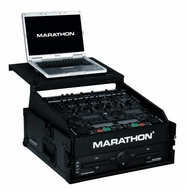 Marathon (MA-M2ULTBLK) Black Series 10U Slant Mixer Rack / 2U Vertical Rack System with Full Access Door & Laptop Shelf