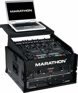 "Marathon (MA-M4ULTBLK) ""Black Series"" 10U Slant Mixer Rack / 4U Vertical Rack System w/ Full Ac Door"