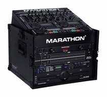 Marathon (MA-M6UBLK) Black Series 10U Slant Mixer Rack / 6U Vertical Rack System with Full Access Door