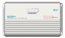 Boss (MR1200PA) 1200 Watts Marine MOSFET 4-Channel Power Amplifier Built-In PA System Microphone