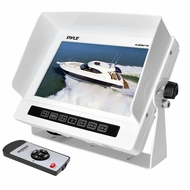 Pyle (PLMRM71W) Marine Grade Water Proof IPX7 7'' LCD Wide-Screen Monitor with Anti-Glare Shield & Universal Stand (White Color)