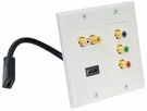 Pyle Home (PHDK1) Dual HDMI + 2 RCA + 3 RCA Wall plate W/Back Pigtail Plug For Easy Intallation