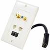 Pyle Home (PHDK6) HDMI + RJ11 + RJ45 + Coaxial + RCA Wallplate W/Back Built-in Flexible Cable For Easy Installation