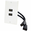 Pyle Home (PHDK9) 2 Port HDMI Wallplate W/Back Built-in Flexible Cable For Easy Installation