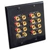 Pyle Home (PHI71B) 7.1 Home Theater Fourteen Post Binding/Banana Plug with Dual RCA Subwoofer Posts Wall Plate Black (14 Posts/Polarity for 7 Speakers)