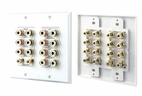 Pyle Home (PHIW71) 7.1 Home Theater Fourteen Post Binding/Banana Plug with Dual RCA Subwoofer Posts Wall Plate White (14 Posts/Polarity for 7 Speakers)