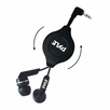 Pyle Home (PHRT32BK) Ultra-Compact Retractable In-Ear Ear-Buds Stereo Bass Headphones(Black)