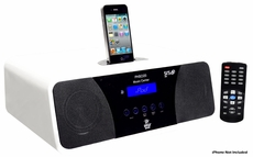 Pyle Home (PHSCI20W) 200 Watts High-Performance 2.1 Channel AM/FM Clock Radio Speaker With iPod / iPhone Docking Station (White)