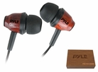 Pyle Home (PIEHWD80DK) Wood-Bud Wooden In-Ear Ear-Buds Stereo Ultra Bass Headphones (Dark Mahogany)