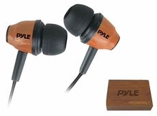 Pyle Home (PIEHWD80LT) Wood-Bud Wooden In-Ear Ear-Buds Stereo Ultra Bass Headphones (Red Mahogany)