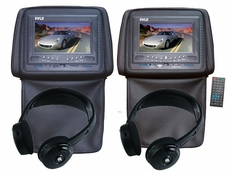 Pyle (KTMV72HBK) Adjustable Headrests 7'' TFT/LCD Monitor w/ Built in Single DVD Player & IR/FM Transmitter With Cover & Headphones (Black)